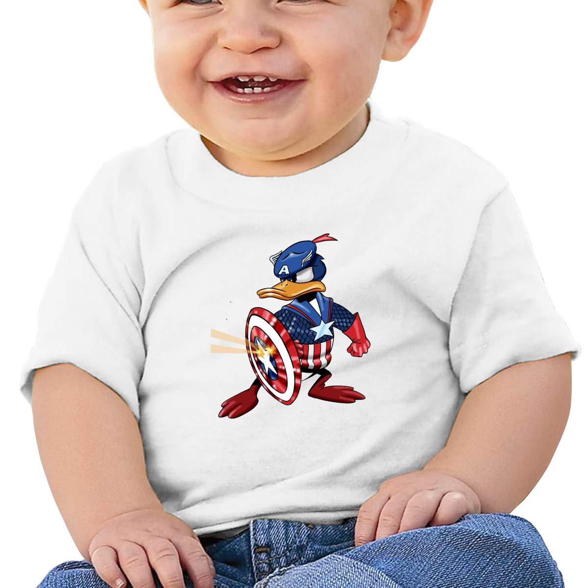 BuecoutesCaptain Donald Duck Toddler//Infant Short Sleeve Cotton T Shirts White