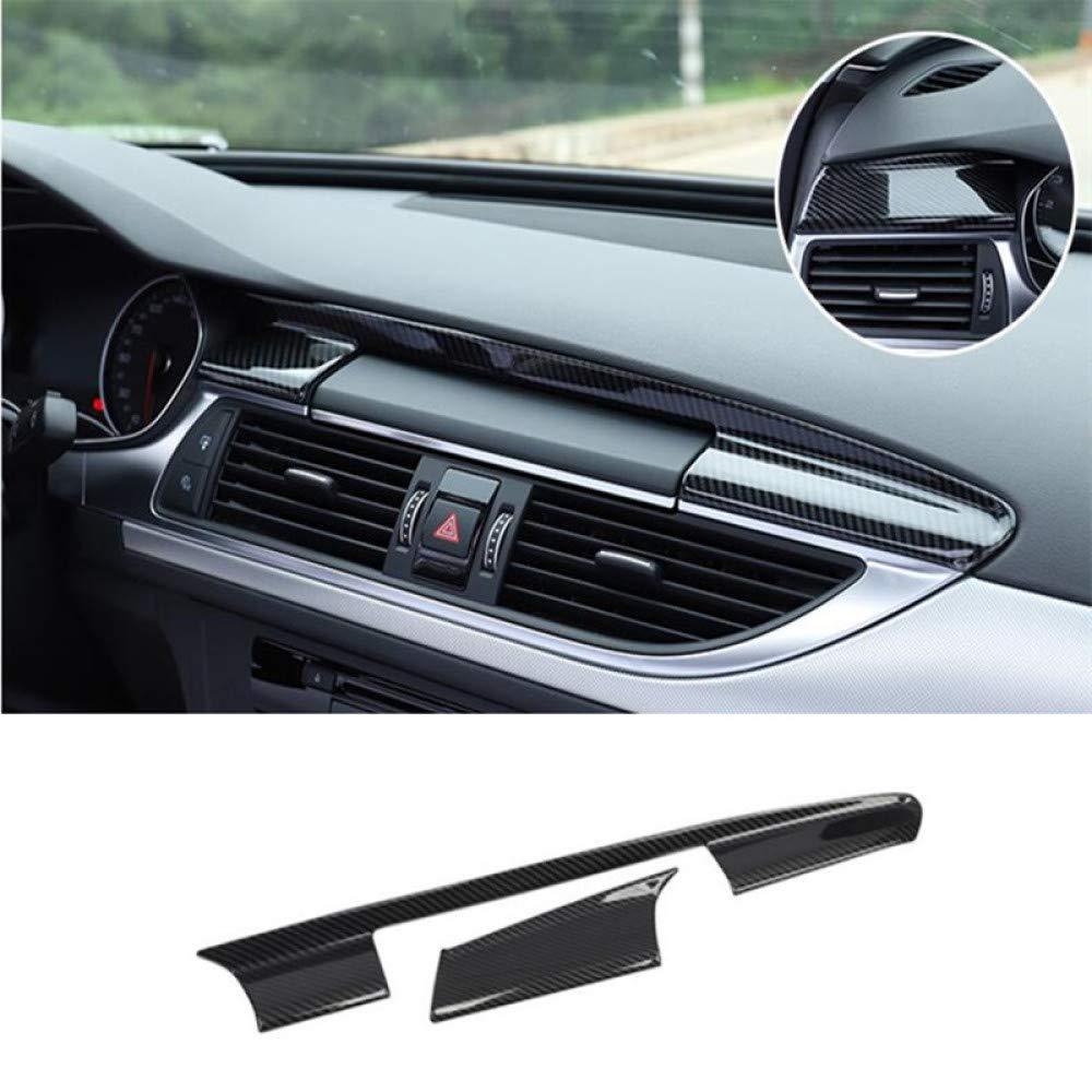 per Audi A6 C7 2012 2018 LHD Gnnlor Rivestimento della Copertura del cruscotto di Colore Nero in Fibra di Carbonio in Acciaio Inossidabile da 2 Pezzi