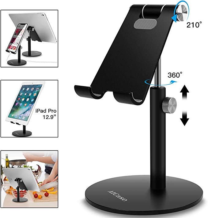 Adjustable Desktop Phone Stand with Adjustable Angle and Height Foldable Mobile Phone Stand Rechargeable White for rechardgeable Universal Tablet Stand Compatible with Mobile Phone//iPad//Tablet