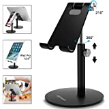 AICase Adjustable Tablet/Phone Stand, Telescopic Adjustable Ipad Stand Holder,Universal Multi Angle Aluminum Stand Compatible With Iphone Smart Cell Phone/Tablet/Ipad(4-13 Inch), Black