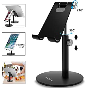 Adjustable Tablet/Phone Stand, AICase Telescopic Adjustable iPad Stand Holder,Universal Multi Angle Aluminum Stand Compatible with iPhone Smart Cell Phone/Tablet/iPad(4-13 inch), Black