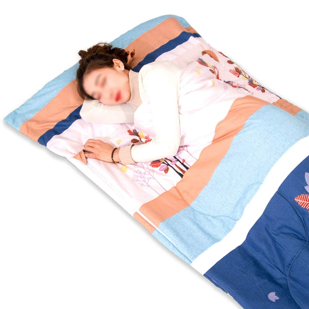 Sleeping Bag - Washed Cotton/Down Cotton, Youth Spring and Autumn Lunch Break Kick-Proof Single Single Cute Portable Cotton Sleeping Bag, Suitable for: Indoor Lunch Break - 6 Patterns Available