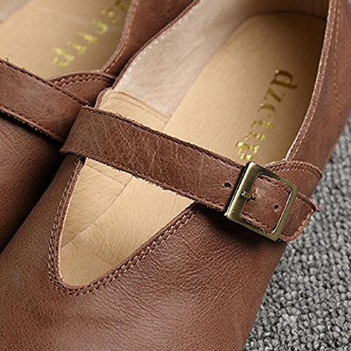 Toe Fashion Leather Loafer Shoes Moccasins Boat 2 Coffee Socofy Comfort On Flats Shoes Walking Womens Slip Casual Loafers wnYP8qS