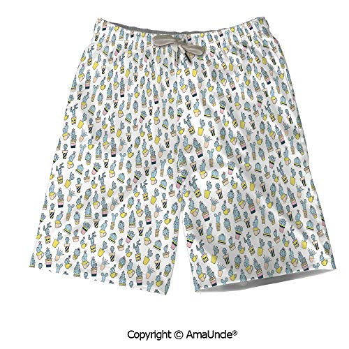 Printed Board Shorts Perfect for Summer,Cartoon Hand Drawn Foliage in Vases Lati ()