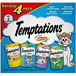 TEMPTATIONS Classic Cat Treats Feline Favorites Variety Pack, (4) 3 oz. Pouches