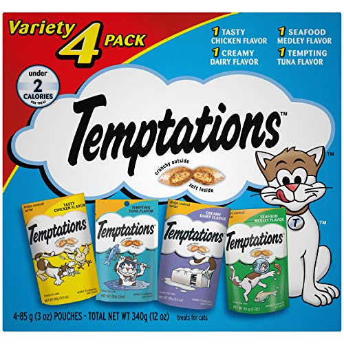 - TEMPTATIONS Classic Cat Treats Feline Favorites Variety Pack, (4) 3 oz. Pouches