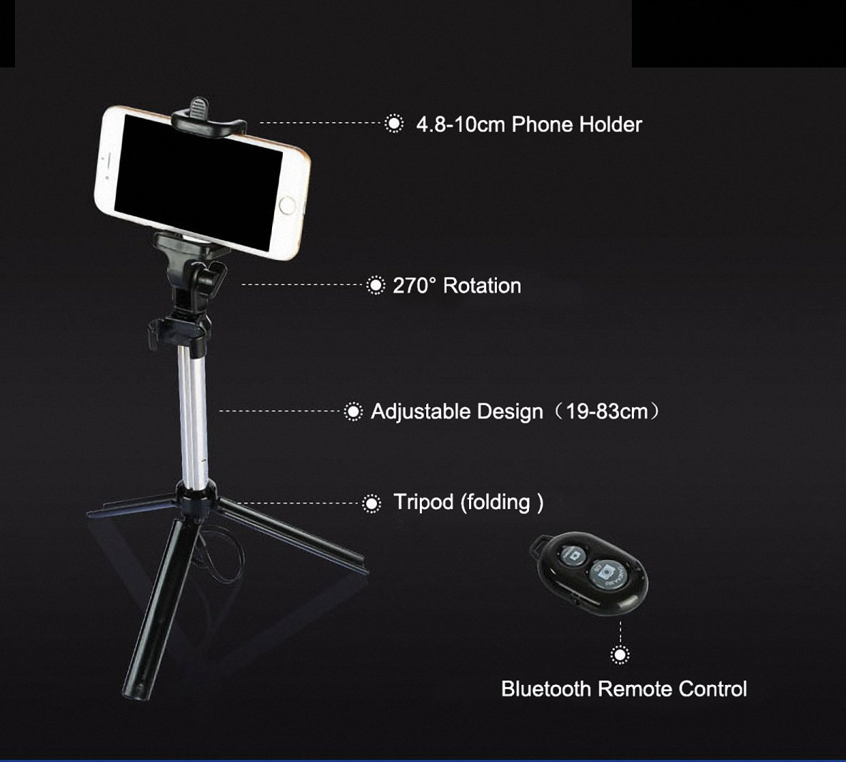VAlinks Selfie Stick Bluetooth Remote Shutter Control Portrait Taker Tool Portable Extendable Tripod Stand Adjustable Phone Holder-Max 28'' for iPhone 7/6s/6 Plus,Samsung Note 6/5,other Smartphones