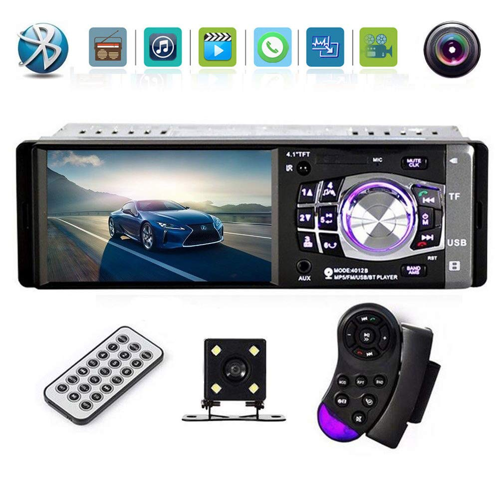 4.1 Inch Car Stereo – Single Din, Bluetooth Audio and Hands-Free Calling, Built-in Microphone, CD, MP5, USB, AUX Input, AM/FM Radio Receiver, LCD Display, Rear View Camera,Steering Wheel Control UNITOPSCI