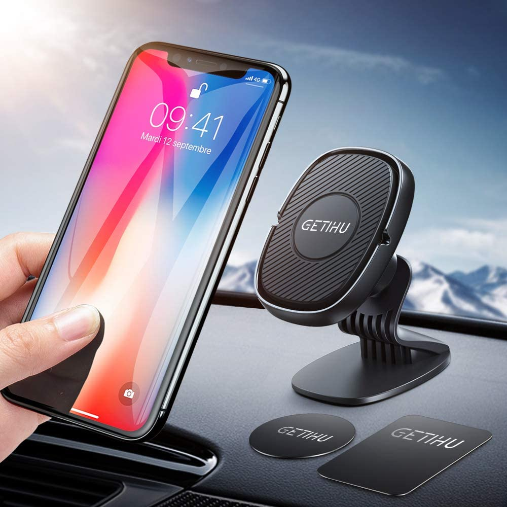 GETIHU Car Phone Mount, 360° Dashboard Phone Holder for Car, Universal Magnetic Cell Phone Car Holder GPS, Compatible with iPhone 11 XS X 8 7 6 6s Plus Samsung S10 S9 Note 10 9 BlackBerry HTC Oneplus