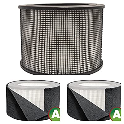 Honeywell Replacement Filter Kit 50250-S - 24000 True HEPA Filter and Pre Cut Carbon Pre Filter Wraps
