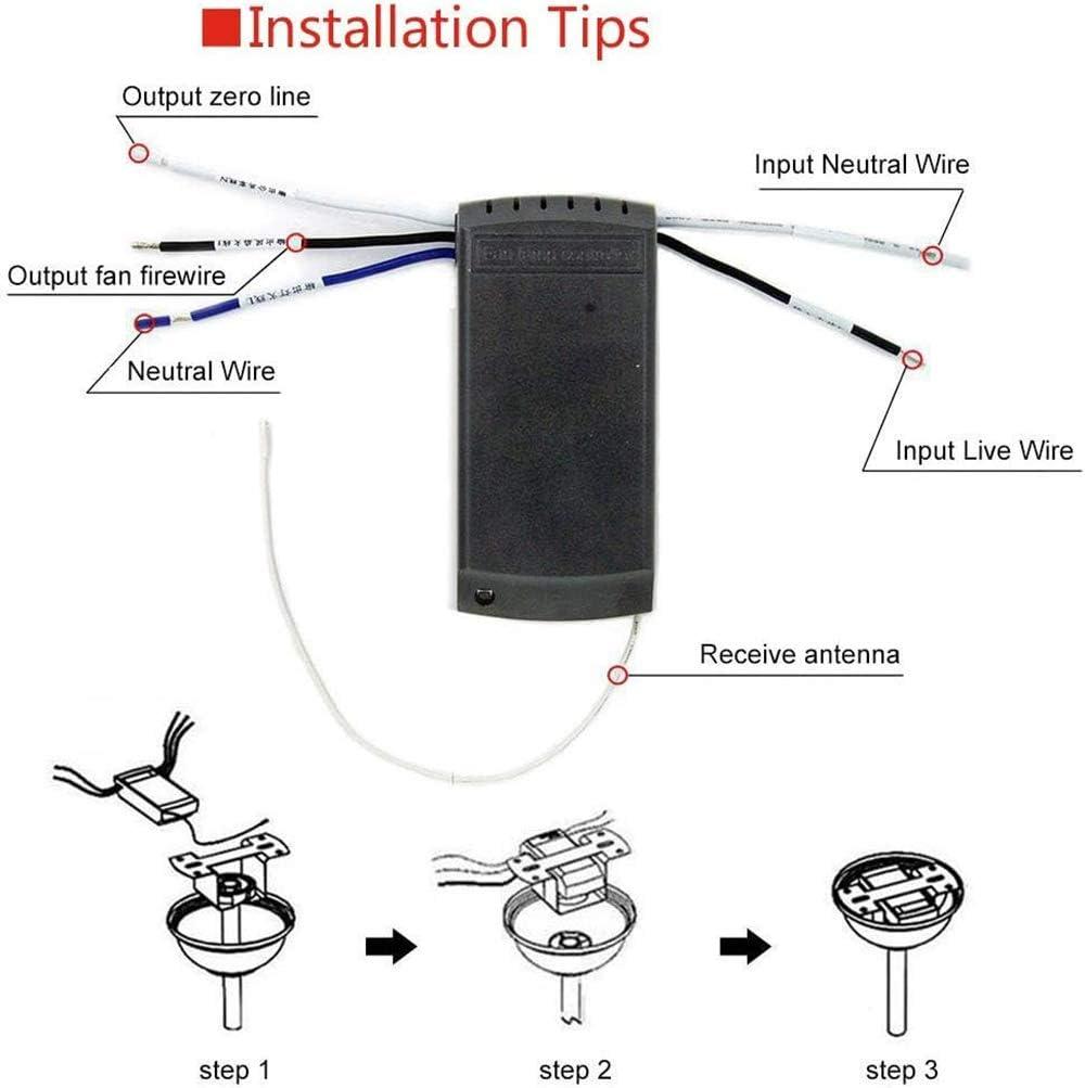 YLX Universal Luz de ventilador de techo Interruptor de control de sincronización Interruptor inalámbrico Kit de control remoto Transmisor y receptor