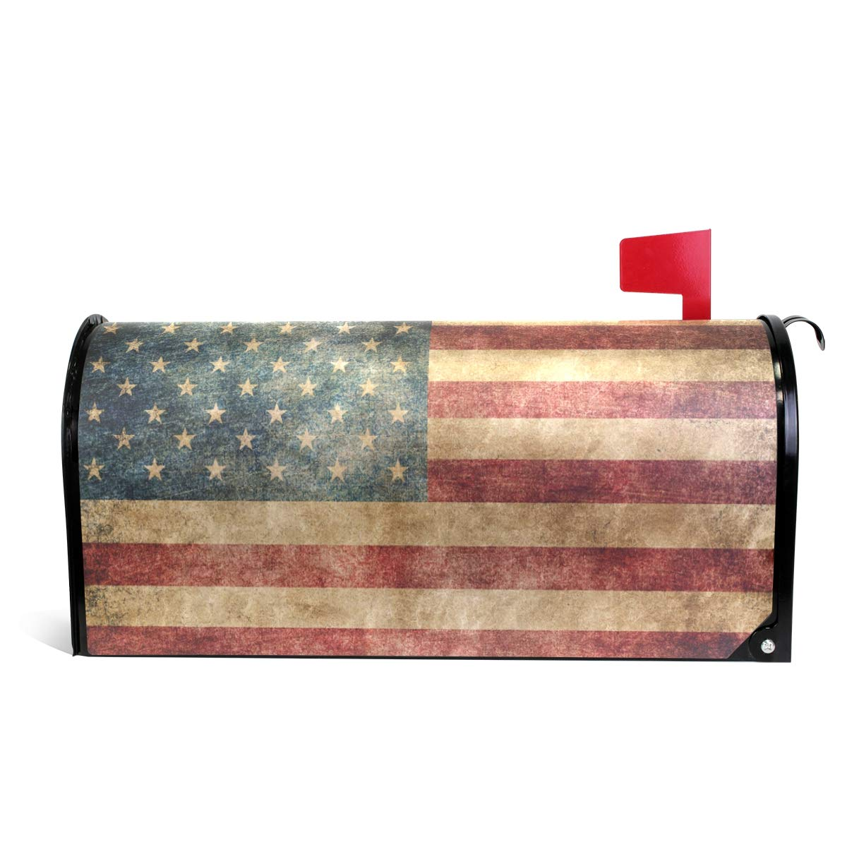 "Naanle Vintage American Flag Magnetic Mailbox Cover, USA Flag Mailbox Wrap Home Decorative for Large Size 25.5""(L) x 20.8""(W)"