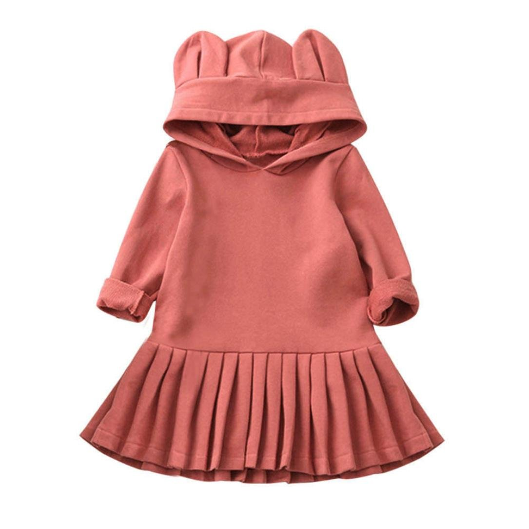 Little Girls Party Princess Dresses, FEITONG Baby Girls Clothes Long Sleeve Hooded Dress Gifts Pink) FEITONG0928