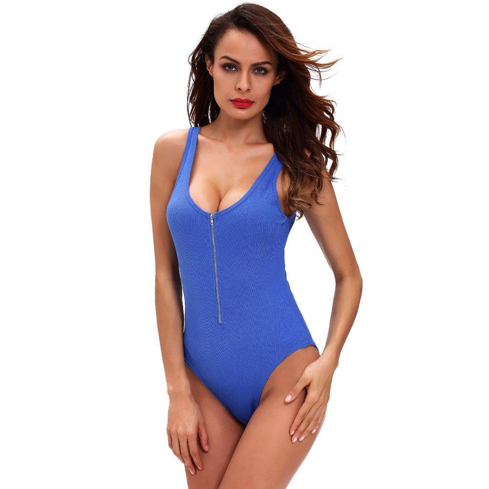 OOFAY Nightdress Round Neck Sleeveless Zipper TightFitting Body Suit Mini Lingerie , bluee , s