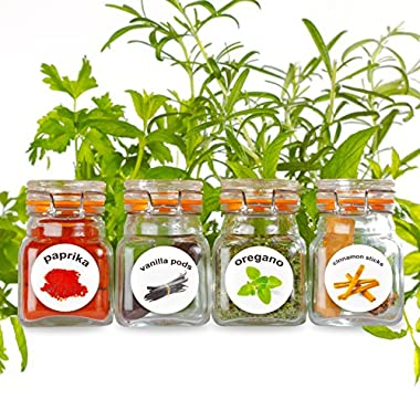 New - 50 Washable Plastic Herb and Spice Jar Labels. Colourful, Attractive Pictures of 50 Herbs And Spices.
