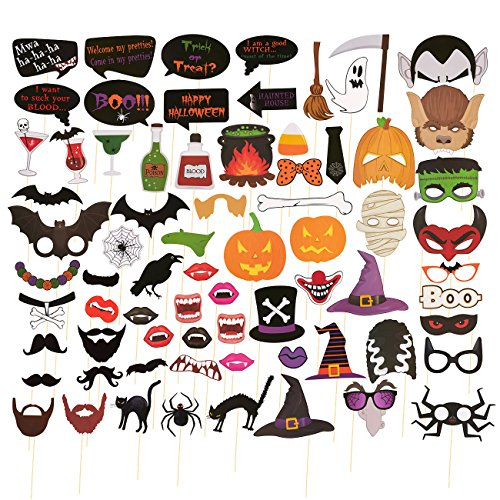 72-Pack of Halloween Photo Booth Props - Photobooth Selfie Prop Sticks, Party Supplies, Booth Accessories - Adult Halloween Party Themes