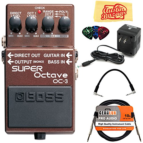 Boss OC-3 Super Octave Bundle with Power Supply, Instrument Cable, Patch Cable, Picks, and Austin Bazaar Polishing Cloth