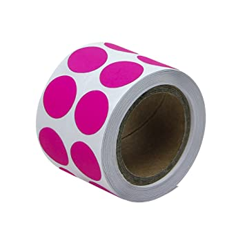 Fluorescent pink 1 2 round circle color code dot inventory labels stickers