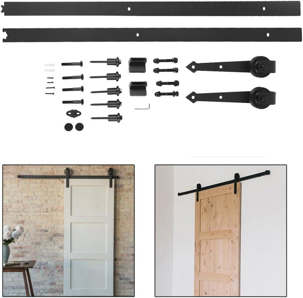 Juego de riel deslizante de acero fácil de instalar, para puerta corredera, armario de acero al carbono, para puerta única, color negro y café, negro: Amazon.es: Bricolaje y herramientas