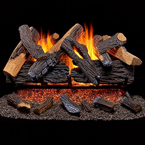 Duluth Forge Vented Natural Gas Fireplace Log Set - 30 in., 65,000 BTU, Heartland Oak ()