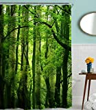 Tree Shower Curtain Forest Tree Shower Curtain, Goodbath Nature Theme Waterproof Mildew Resistant Polyester Fabric Bathroom Bath Curtains, 72 x 72 Inch, Green Brown
