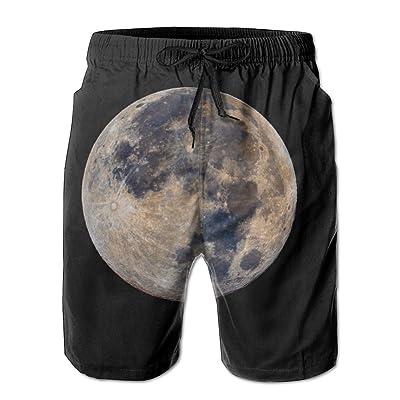 Moon Earth Satellite Space Night Sky Cosmic BodiesHandsome Fashion Summer Cool Shorts Swimming Trunks Beachwear Beach Shorts