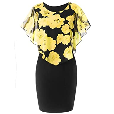 ☀ Vestido Casual para Mujer de la Moda, Vestido Corto de Volantes de Gasa con Estampado de Rosas de tamaño Extragrande Absolute: Amazon.es: Ropa y ...