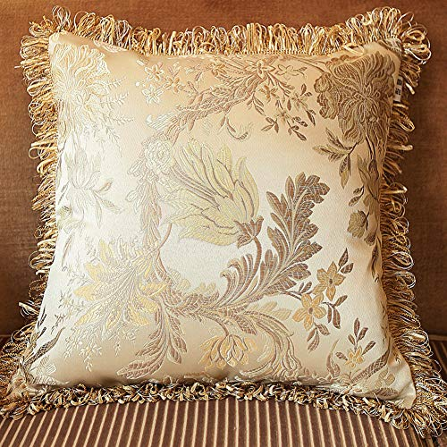 MeMoreCool Square Soft Throw Pillow Cover, Satin Floral Pattern Pillowcase 18 x 18 Inches, Champagne Color Pillowslip for Car, Sofa or Bed ()