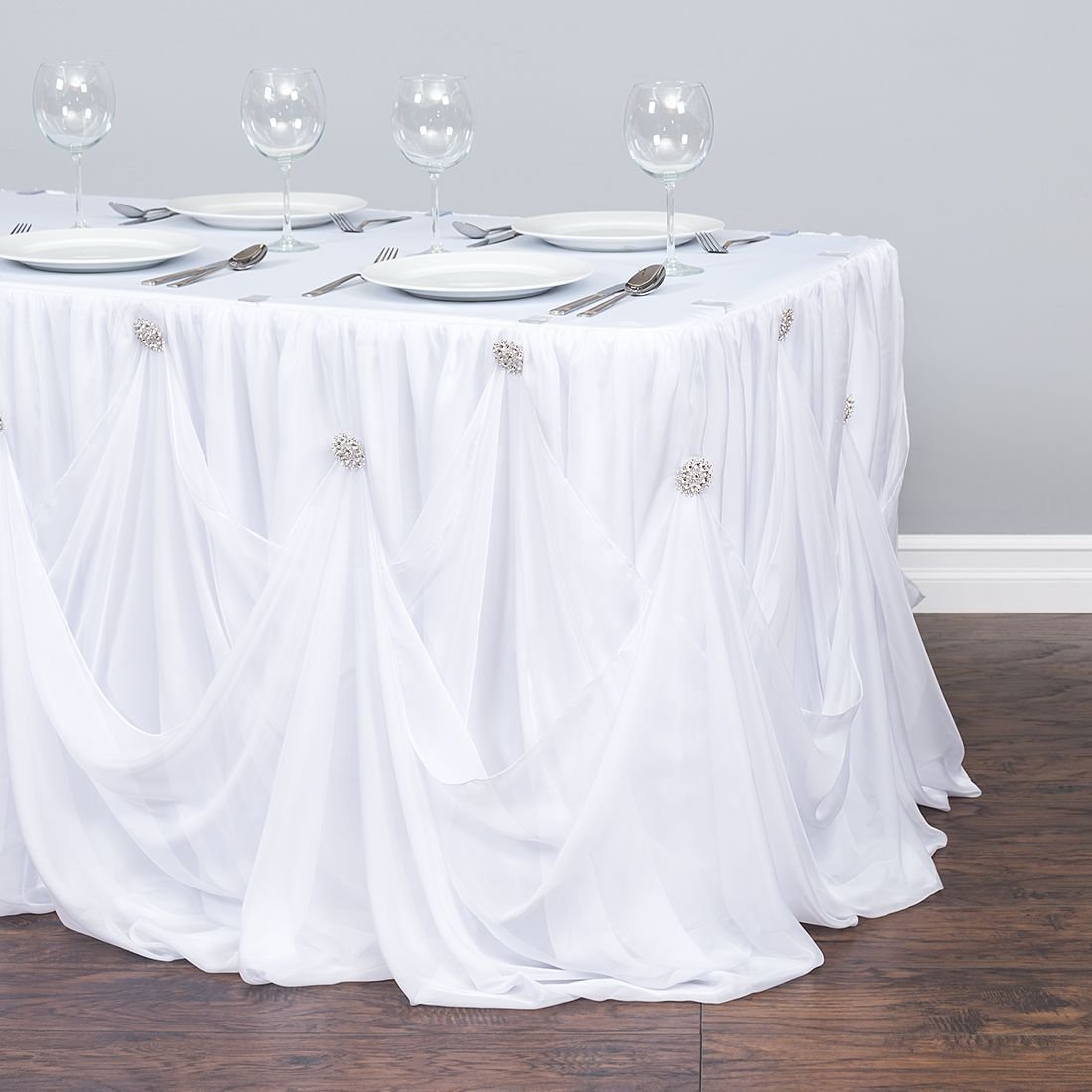 17 ft. Chiffon Rhinestone Table Skirt White