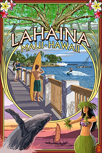 Lahaina, Maui, Hawaii - Town Scenes Montage (24x36 SIGNED Print Master Giclee Print w/ Certificate of Authenticity - Wall Decor Travel Poster) by Lantern Press
