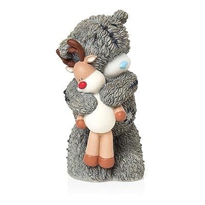 Glamour Girlz to You Tatty Teddy Figurine Décoration Festive Idée de cadeau de Noël Teddy tenant Rudolph jouet