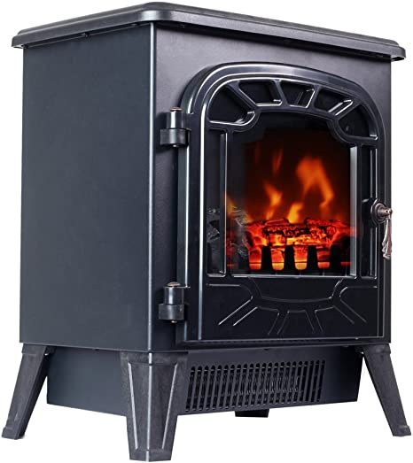 3gplus Free Standing Electric Fireplace Portable Heater Log Fuel Effect Realistic Flames Mini Stove 1500w Black Furniture Decor