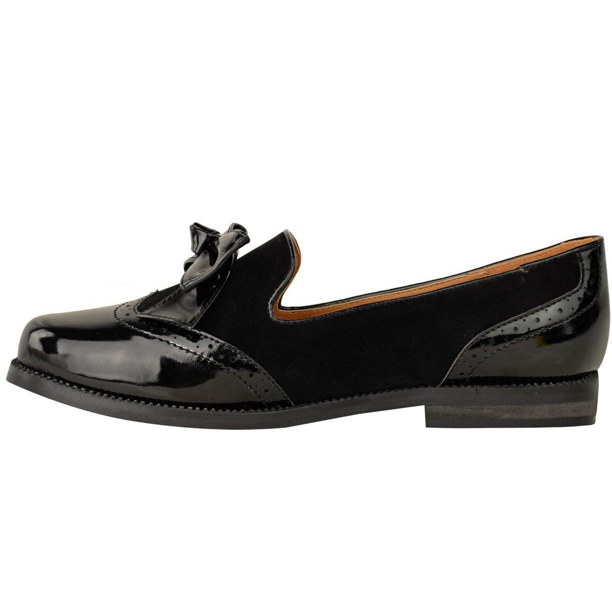 Mujer Mocasines Planos Lazo Trabajo Formal Oficina Elegante Escuela Zapatillas Talla - Charol Negro/Ante, 36: Amazon.es: Zapatos y complementos