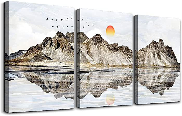 Abstract Landscape Painting Canvas Wall Art for Living Room Bathroom Wall Decor for Bedroom Kitchen Artwork 3 Pieces Framed Canvas Art Sun Mountain Scenery Pictures Modern Office Family Decorations