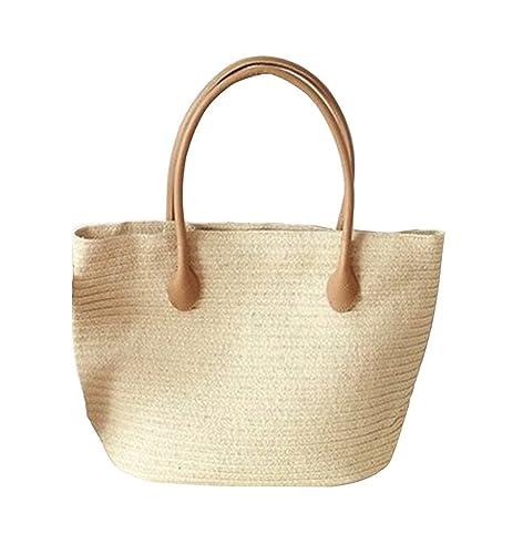 ba600191aa426 YoungSoul Bolso de playa de paja grande - Bolsos totes tejido de verano -  Shoppers bolsos de hombro para mujer Beige L45cm   H32cm  Amazon.es   Zapatos y ...