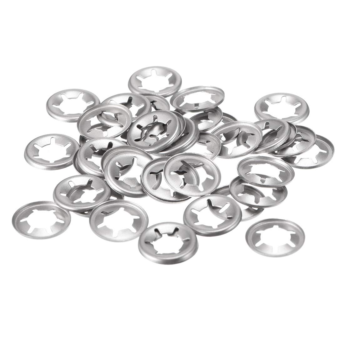 Internal Tooth Lock Washers Push-On Locking Speed Clip 304 Stainless Steel 40pcs 15mm O.D uxcell M8 Starlock Washer 7.4mm I.D