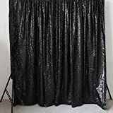 GFCC Sequin Backdrops Black Sequin Curtains Sequin Fabric for Wedding/Party/Birthday-20ftx10ft