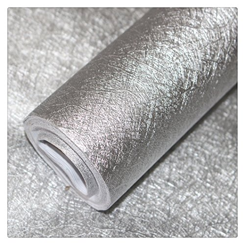 HaokHome H015 Silver Metallic Peel and Stick Wallpaper 23.6in x 19.7ft Glitter Shinny Self Adhesive Contact Paper Wall Decoration (Wallpaper Metalic Silver)