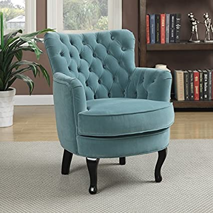 Amazon Com Transitional Turquoise Velvet Accent Chair Will Look