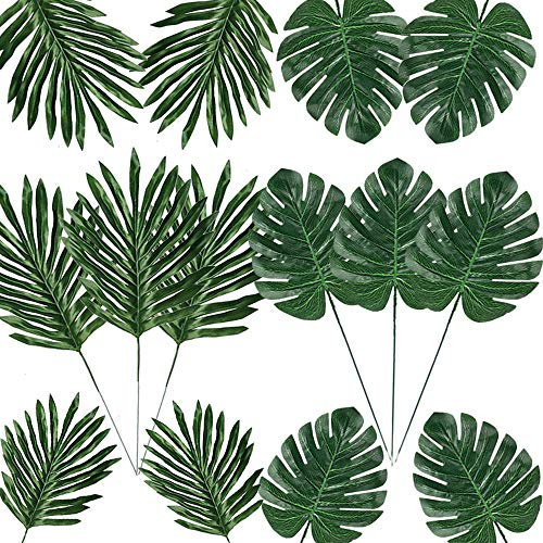 Giftown 24 Pcs 2 Kinds Artificial Palm Leaves with Stems Tropical Faux Leaves Safari Leaves Hawaiian Luau Party Suppliers Decorations Tiki,Aloha Jungle Beach Birthday Leave Table Decorations