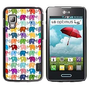 TopCaseStore / la caja del caucho duro de la cubierta de protección de la piel - Colors Pastel Pattern White - LG Optimus L5 II Dual E455 E460