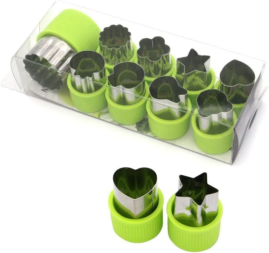 LENK Vegetable Cutter Shapes Set,Mini Pie,Fruit and Cookie Stamps Mold,Cookie Cutter Decorative Food,for Kids Baking and Food Supplement Tools Accessories Crafts for Kitchen,Green,9 Pcs