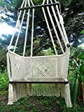 Large hanging chair macrame art handmade with cotton solid wood spreader bar and plywood seat/ This is a work art 100% NICARAGUAN/ Nicaraguan hammock chair handmade/ premium hammock chair handmade