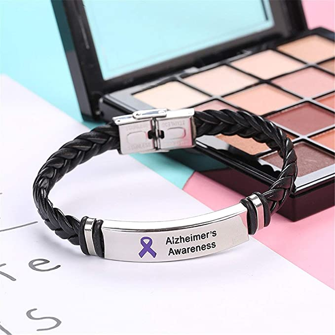 Epilepsy Leather Awareness Bracelet with Stainless Steel Clasp /& Plaque Unisex Mens