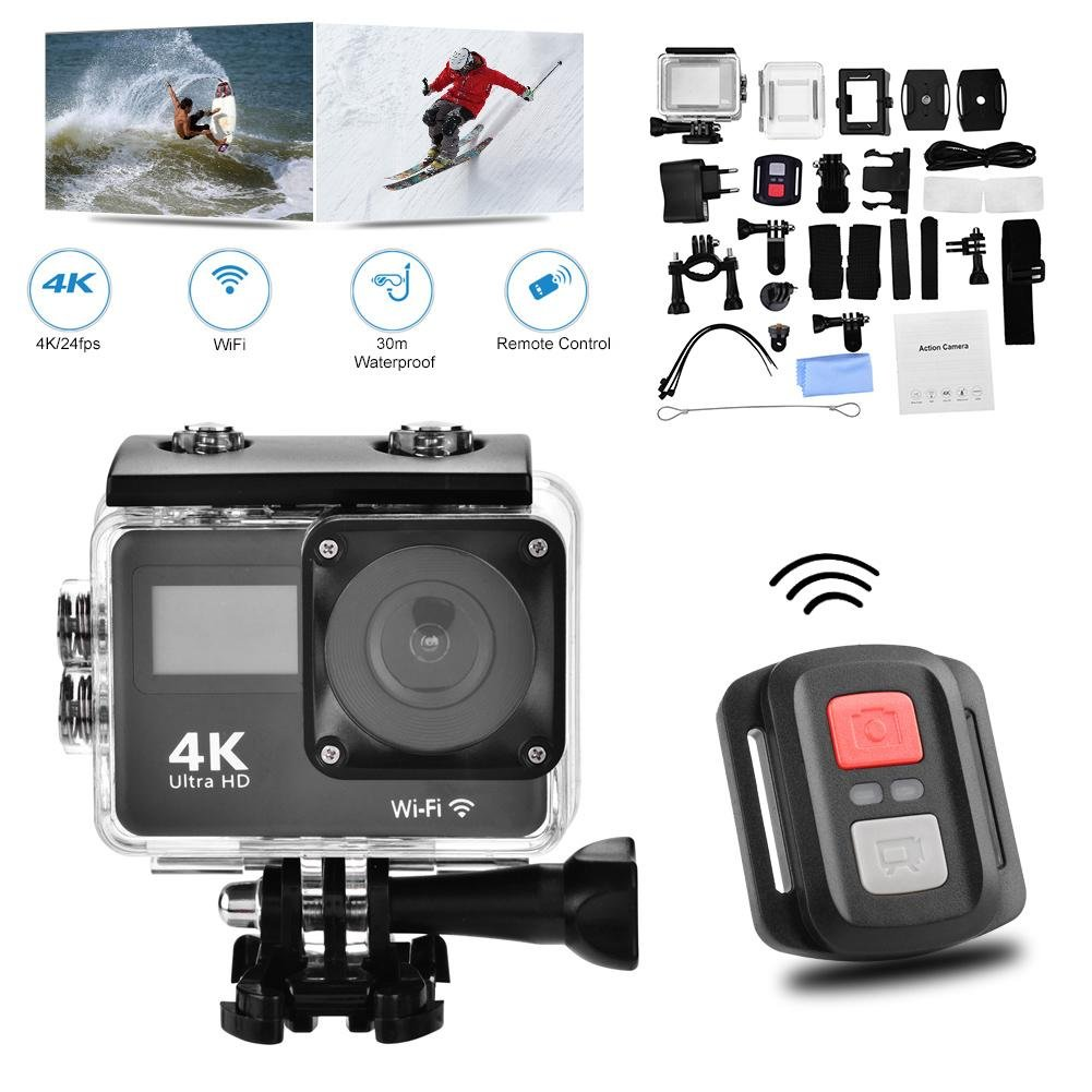 Acouto HD 4K Action Camera 18MP Dual Screen Sport Cam with 140 Degree High Definition Wide Angle View,WiFi Conect and APP Download Feature Video Camcorder with Remote Control Accessory Kit