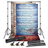 Emart Photo Video Studio Backdrop Stand Kit, 8.5 x 10ft Adjustable Photography Background Support System, 3 pcs 5x10ft Vinyl Plastic Wood Floor Screens (Blue, Rustic, White) and 3 pcs Spring Clamps