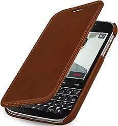 StilGut Book Type sans Clip, Housse en Cuir avec Fonction Marche/arrêt pour Blackberry Classic Q20, en Cognac