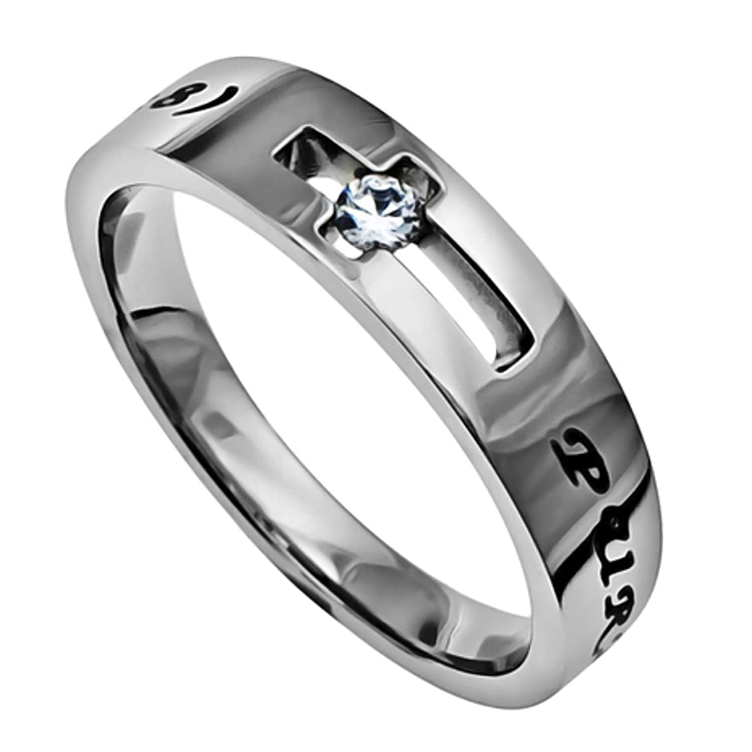 Amazon.com: Purity Ring for Girls, Stainless Steel, Jesus Faith ...