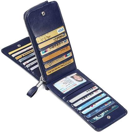 c716d3edc792 JEEBURYEE Portefeuille Femme Porte Monnaie Porte Cartes de Crédit RFID Long  Zippé Porte Feuille Compagnon en Cuir pour Femme Bleu  Amazon.fr  Bagages