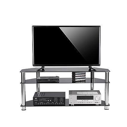 Amazon Com Rfiver Glass Corner Tv Stand Fits Most 32 37 40 42 46 47